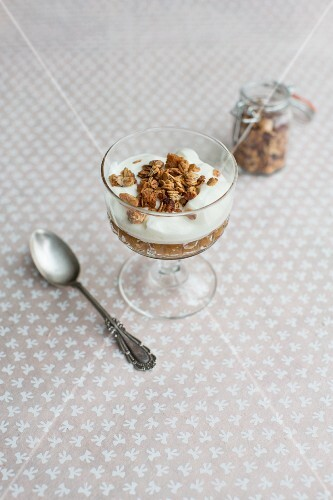 Apple compote with yoghurt and muesli