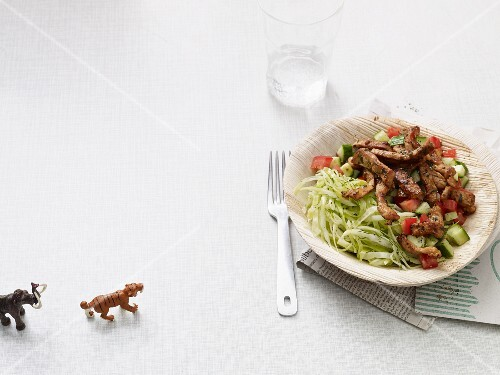 Minute gyros with cucumbers, tomatoes and herb salad (Paleo diet)