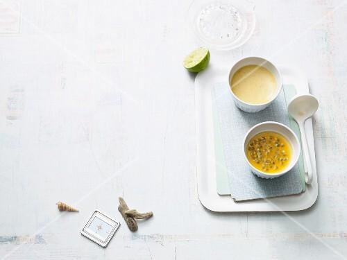 Coconut cream with passion fruit (Paleo diet)