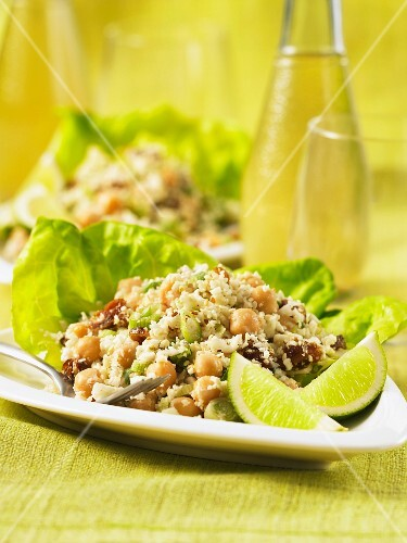 Couscous salad with cauliflower, chickpeas and dates