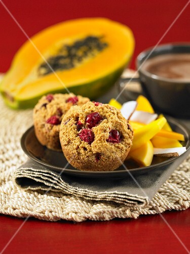 Cranberry and orange muffins with exotic fruit