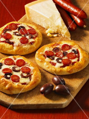 Mini peperoni and olive pizzas