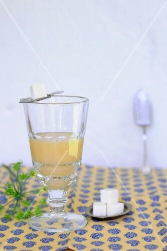 An apple vinegar drink and sugar cubes