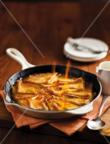 Crepe Suzette in the frying pan