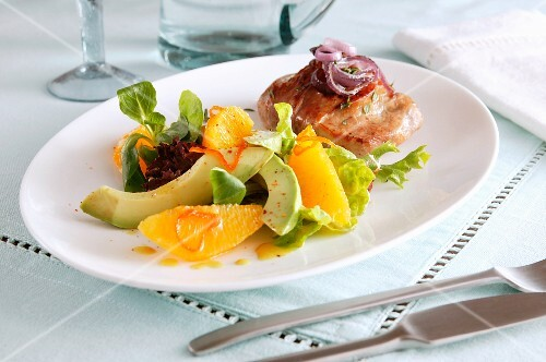 Peach, avocado and chicken salad