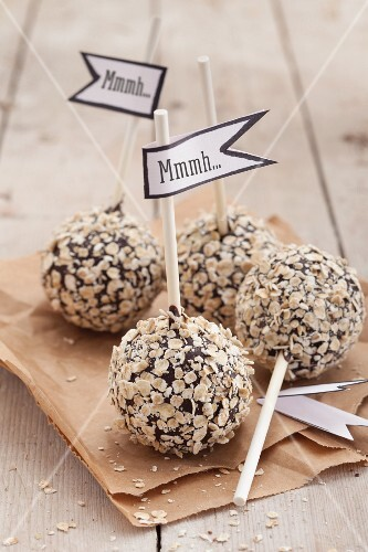 Cake pops with oats on a paper bag