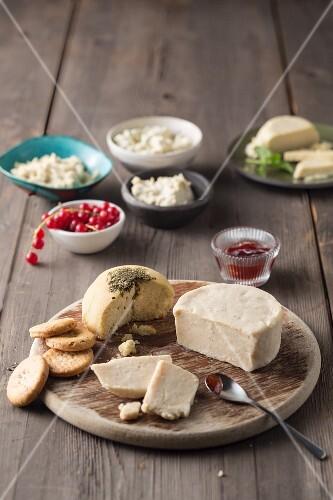 A vegan cheese platter