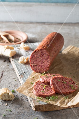 Vegetarian fennel salami made from tofu