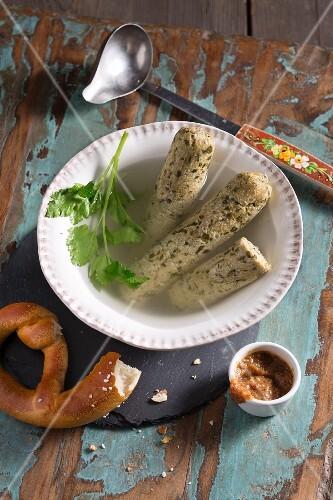 Vegan white sausage made from gluten