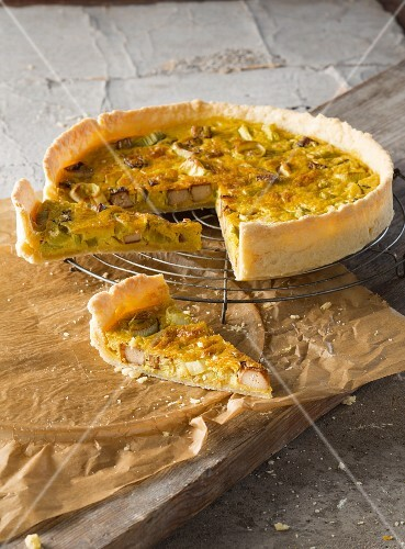 Vegan Quiche Lorraine with with a vegetable cream topping