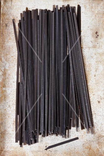Tagliatelle al nero di seppia (squid pasta, Italy)