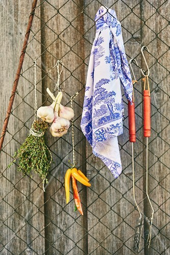 Grilling utensils, herbs and spices