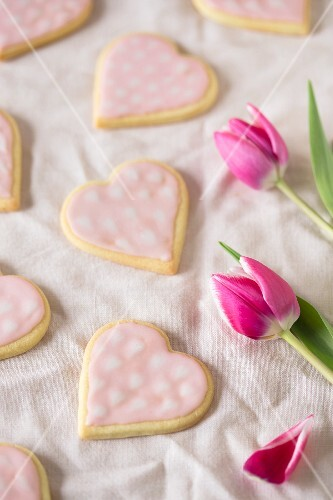 Pink heart-shaped biscuits Mother's Day