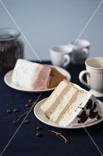 Two slices of tiramisu cake with coffee mousse and mascarpone