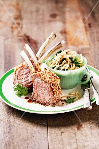 Lamb chops with a sesame seed crust