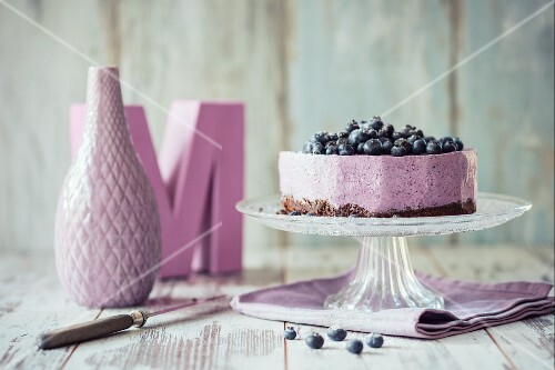 An ice cream cake with blueberries