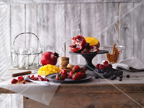 An arrangement of fresh and dried fruit for making smoothies