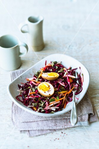 Red cabbage and radish coleslaw with soya 'eggs'