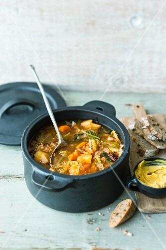 Savoy cabbage stew with saffron cream and pimenton de la vera