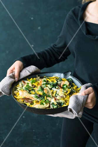 Fried cheese pasta with chard, dates and Taleggio cheese