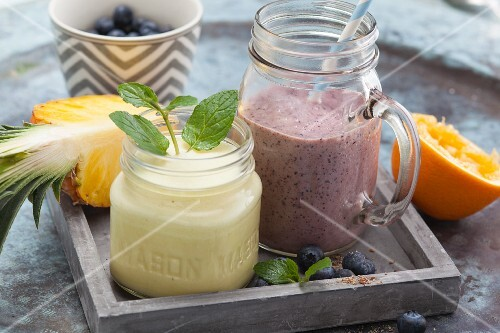 Pineapple and blueberry smoothies to take away