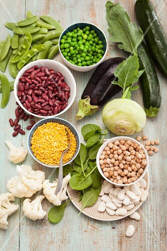 Legumes and fresh vegetables with lots of carbohydrates