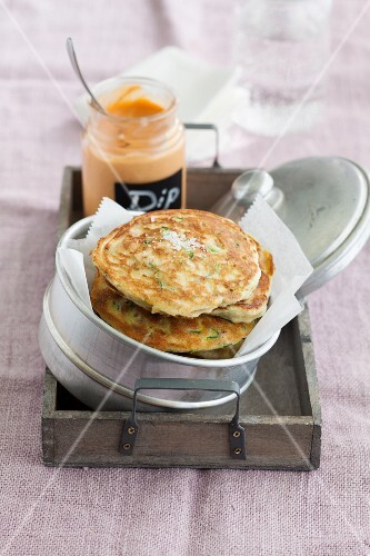 Vegetarian courgette pancakes with chickpeas