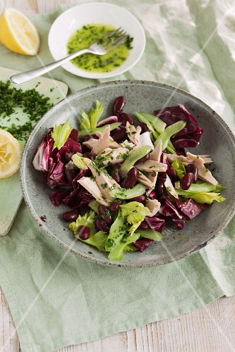 Quick radicchio salad with kidney beans and tuna fish