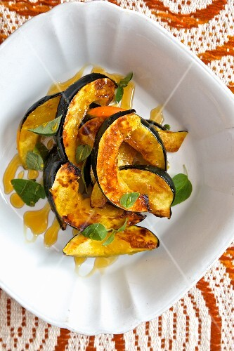 Roasted pumpkin wedges with sea salt and honey