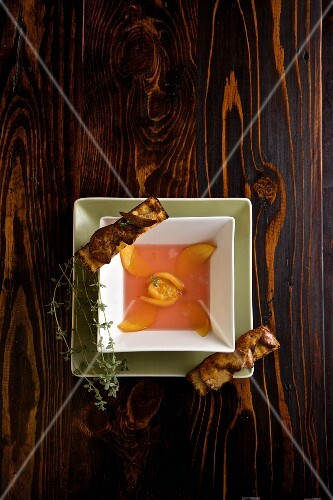Cold nectarine soup with goose liver croutons