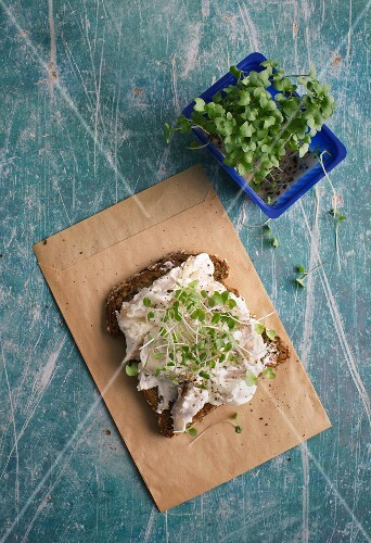 Wholemeal bread with smoked fish cream cheese