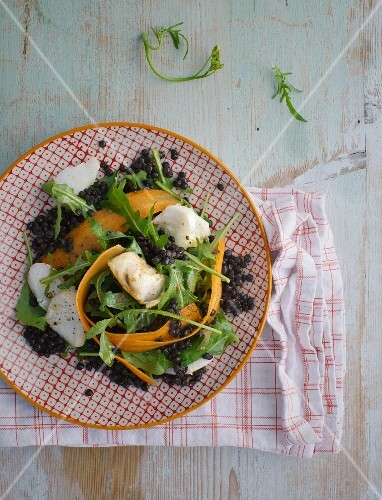 Summer lentil and fish salad with rocket