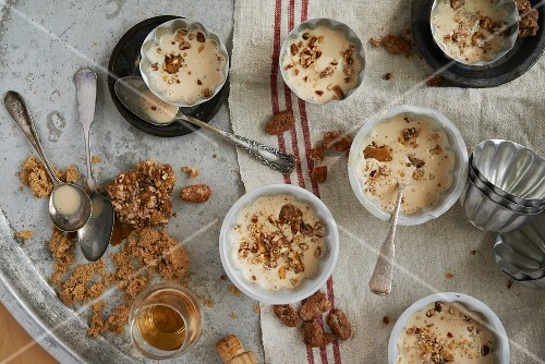 Maple syrup and bourbon ice cream with salted candid pecan nuts