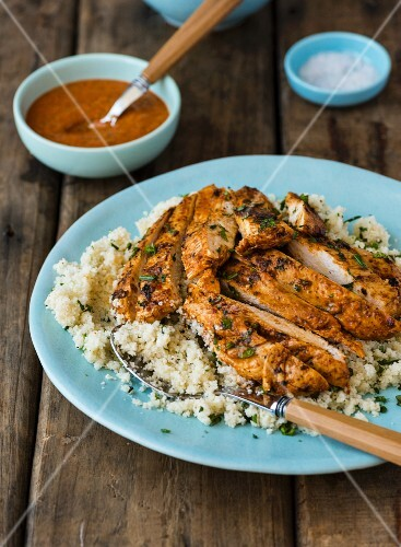 Harissa chicken on a bed of couscous
