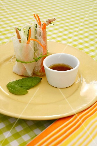 Vietnamese summer rolls with vegetables and chicken