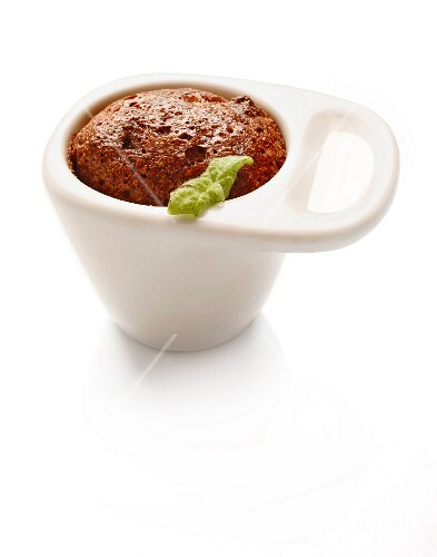 Warm chocolate and almond pudding in a cup