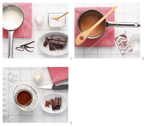 Chocolate panna cotta being made