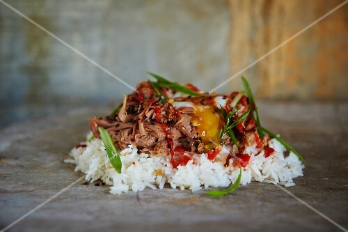 Rice with pork, spring onions and sesame seeds (Philippines, Asia)