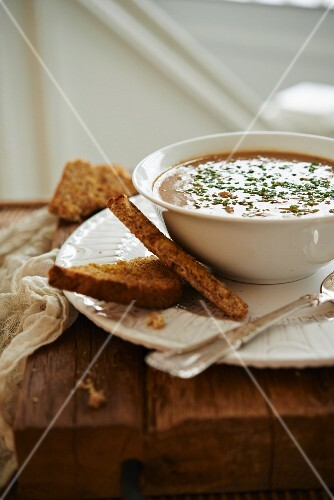 French onion soup with toast