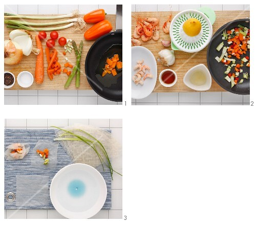 Rice paper sacks with prawns and roasted vegetables being made