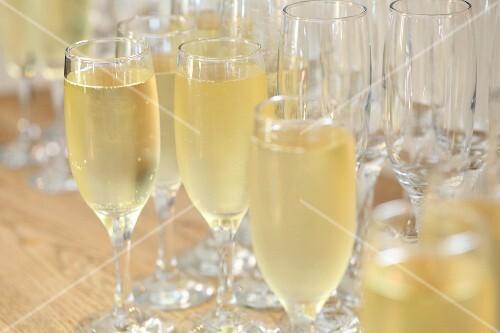 Several glasses of champagne