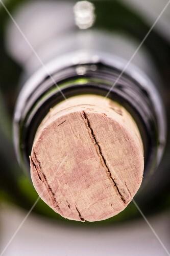 A cork in a bottle (close-up)