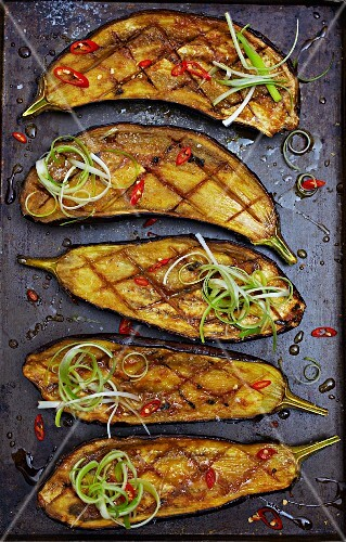 Roasted aubergines with miso