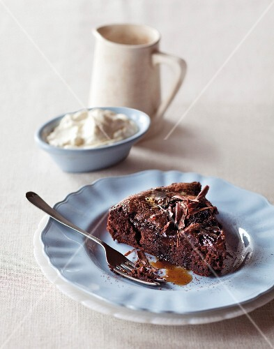 Chocolate and plum cake with coffee syrup