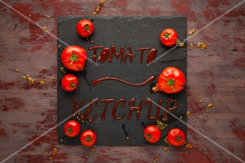 Tomato ketchup on a slate platter