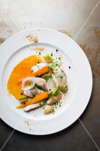 Chicken escabeche (a dish from Belize) with peach purée