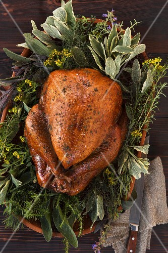 Turkey on a bed of herbs