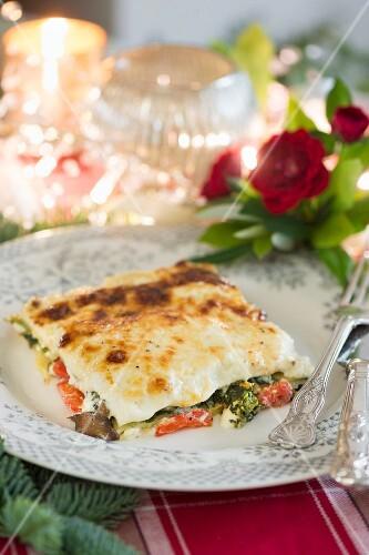 Vegetarian marscapone lasagne for Christmas