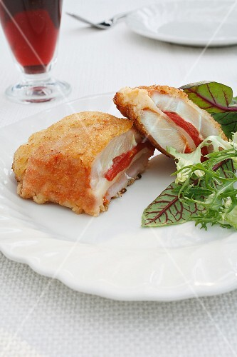 Pork cordon bleu filled with cheese and peppers
