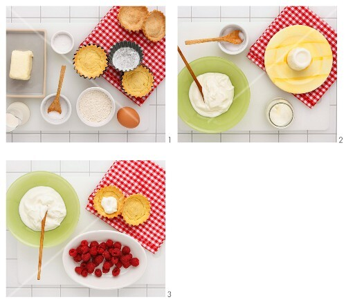 A tartlet with yoghurt cream and fresh raspberries being made